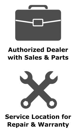 Authorized Dealer with Sales & Parts  Service Location for Repair & Warranty